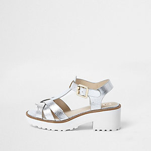 Girls silver metallic T-bar chunky sandals