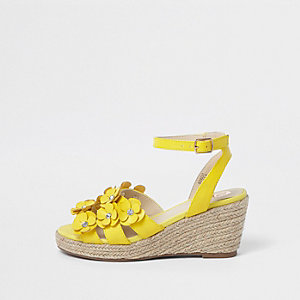 Girls yellow 3D flower espadrille wedges