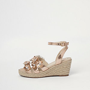 Girls rose gold metallic 3D flower espadrille