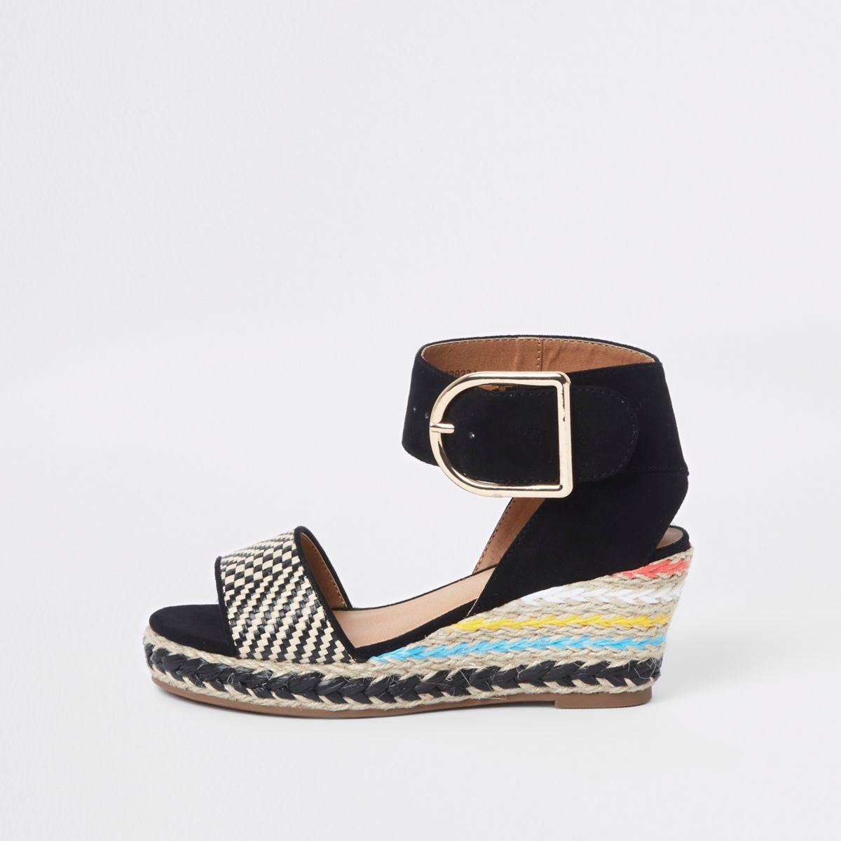 Girls black espadrille wedge sandals