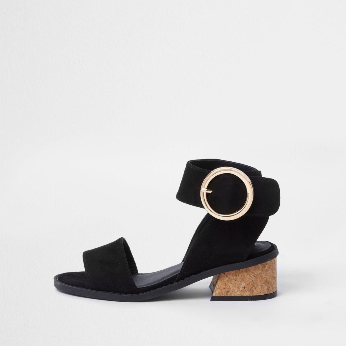 Girls black flared heel sandals