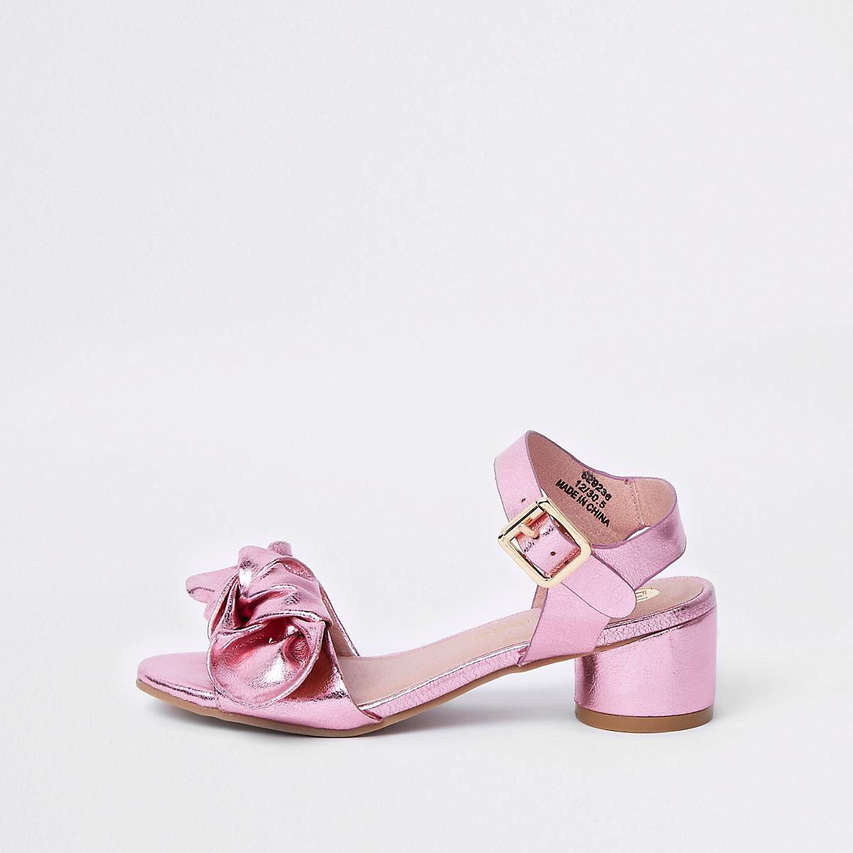 Girls pink bow circle block heel sandals