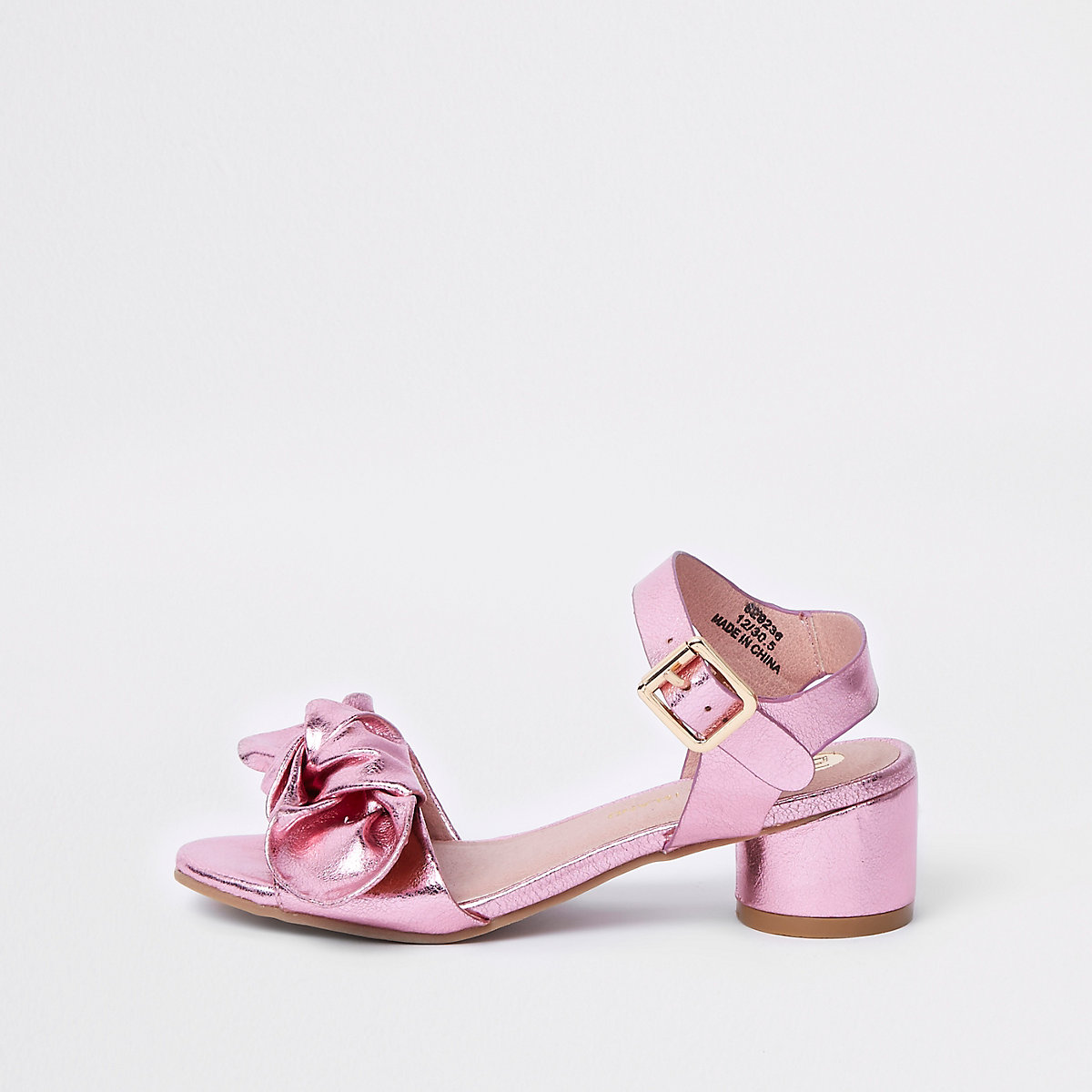 Girls pink bow circle block heel sandals