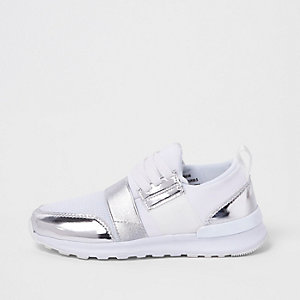 Girls white metallic mesh runner trainers