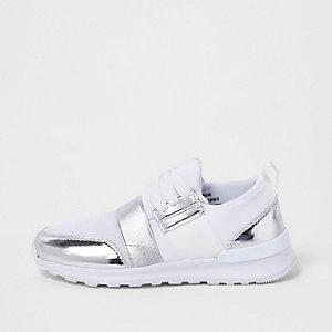 Witte metallic mesh hardloopschoenen voor meisjes