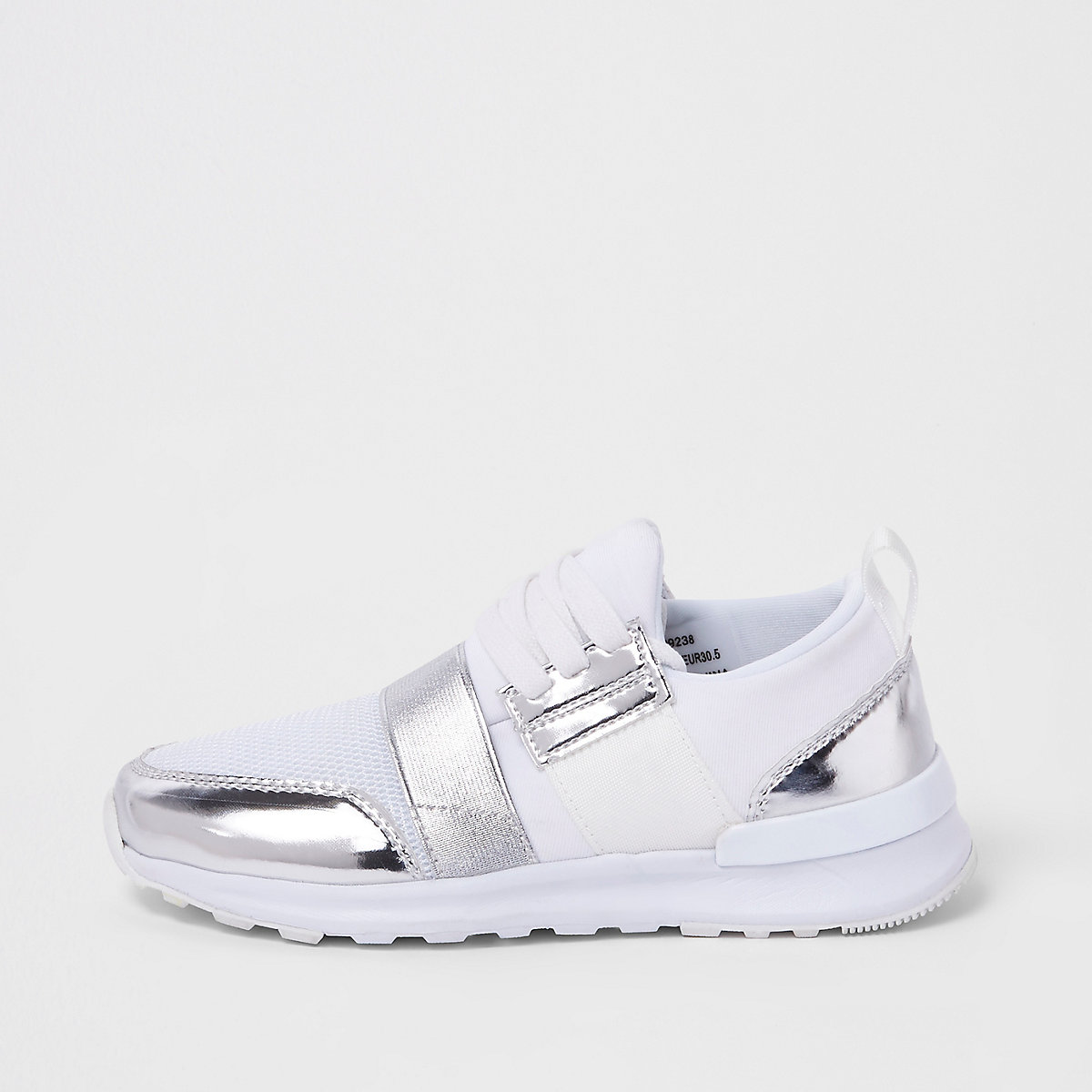 Girls white metallic mesh runner sneakers