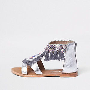 Girls silver fringe embellished sandals