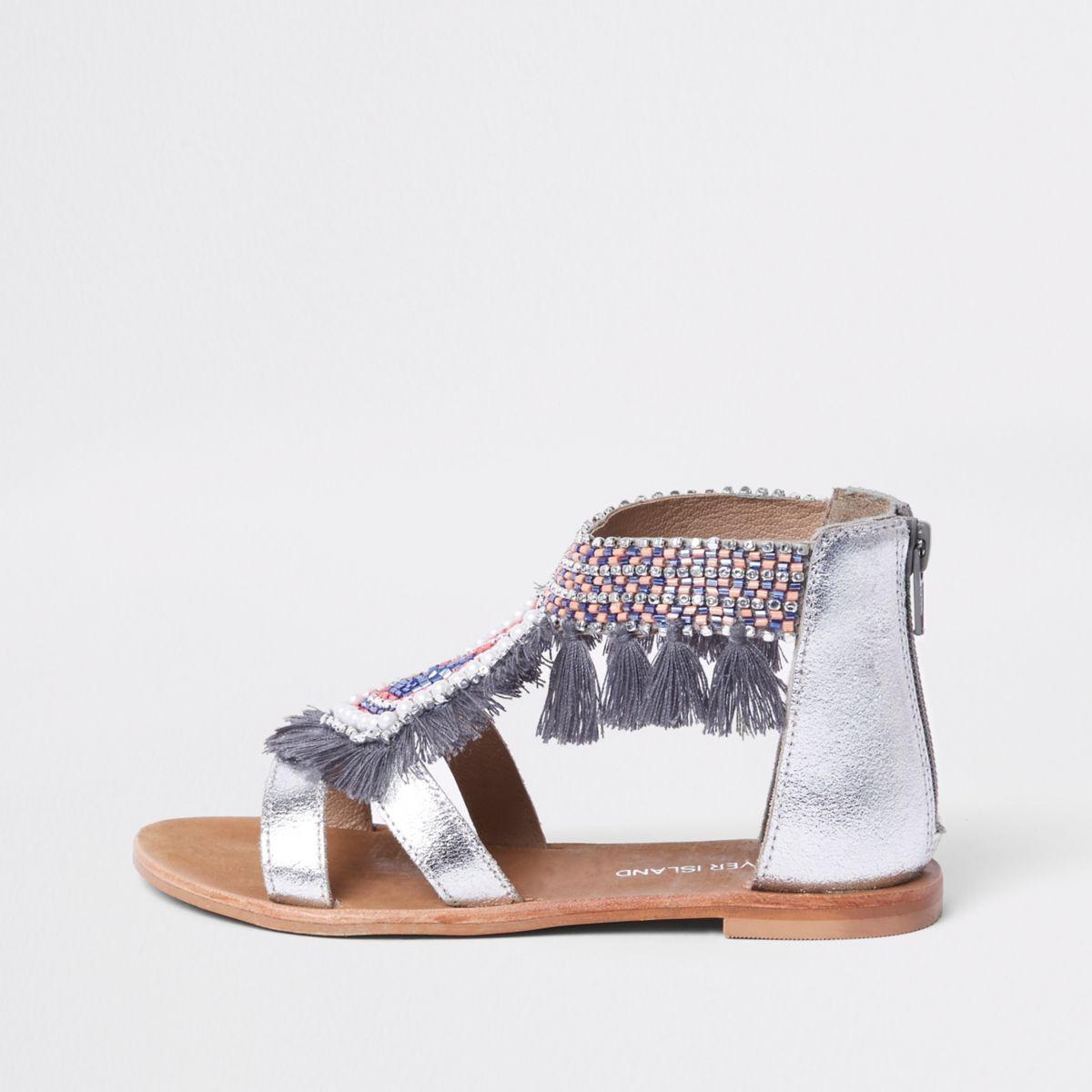 Girls silver fringe embellished sandals