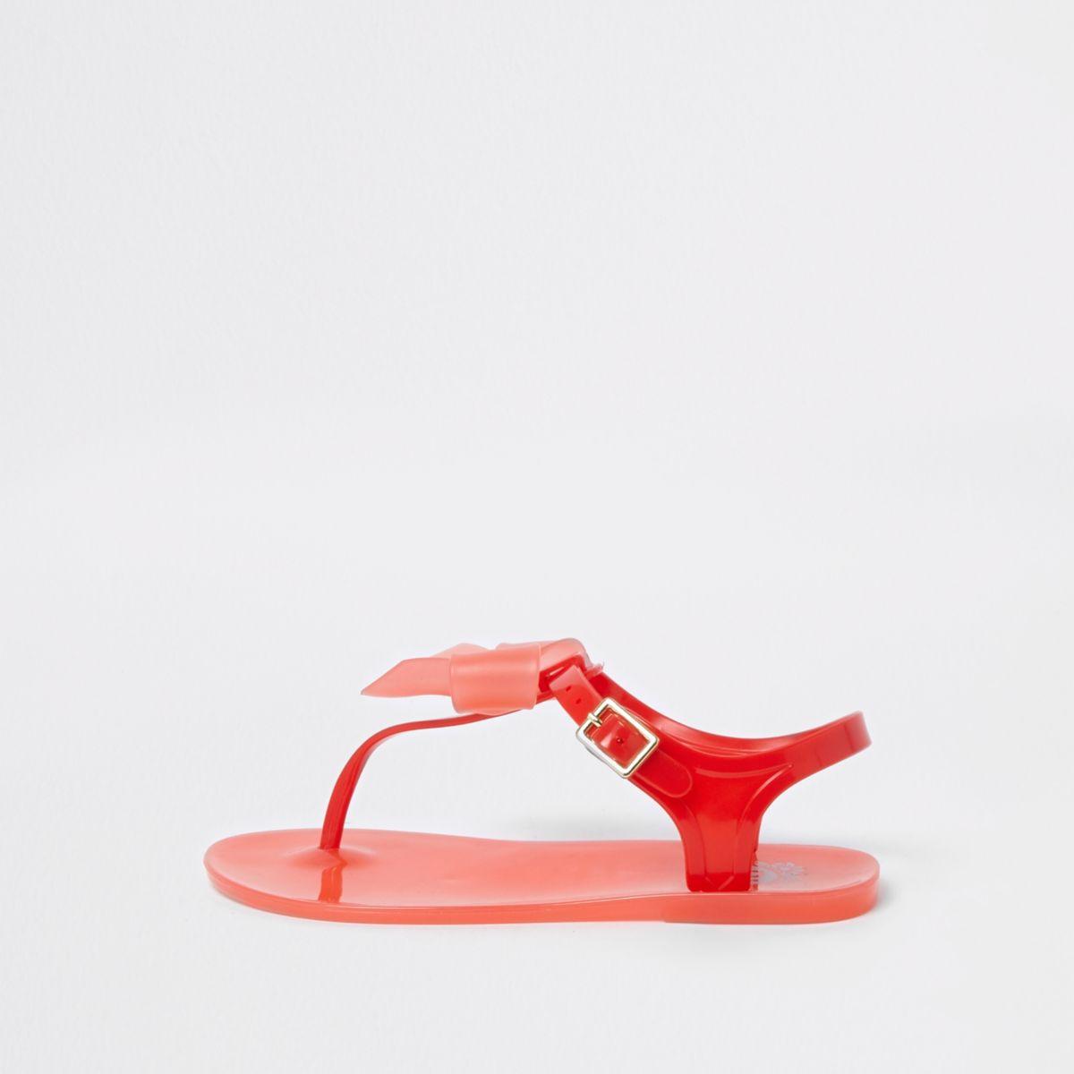 Girls red rhinestone bow jelly sandals