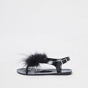Zwarte jelly sandalen met veer voor meisjes