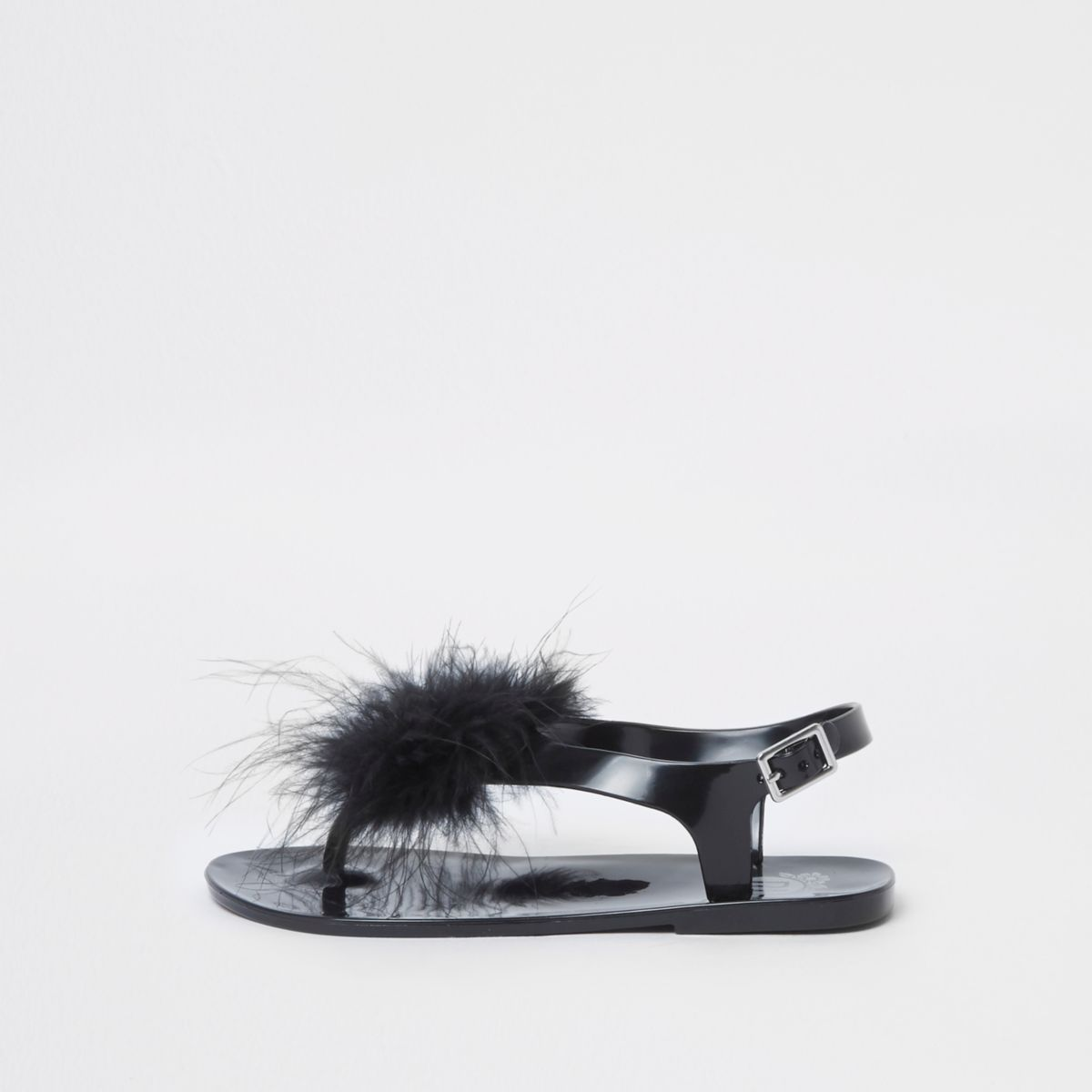 Girls black feather jelly sandals