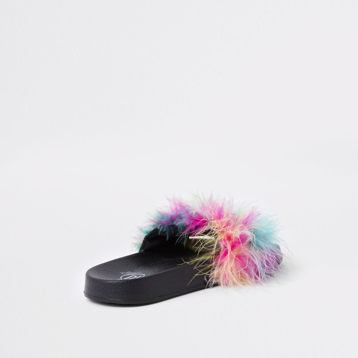 Girls Pink Multi Colour Feather Sliders by River Island