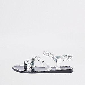 Chaussures en plastique noires ornées pour fille