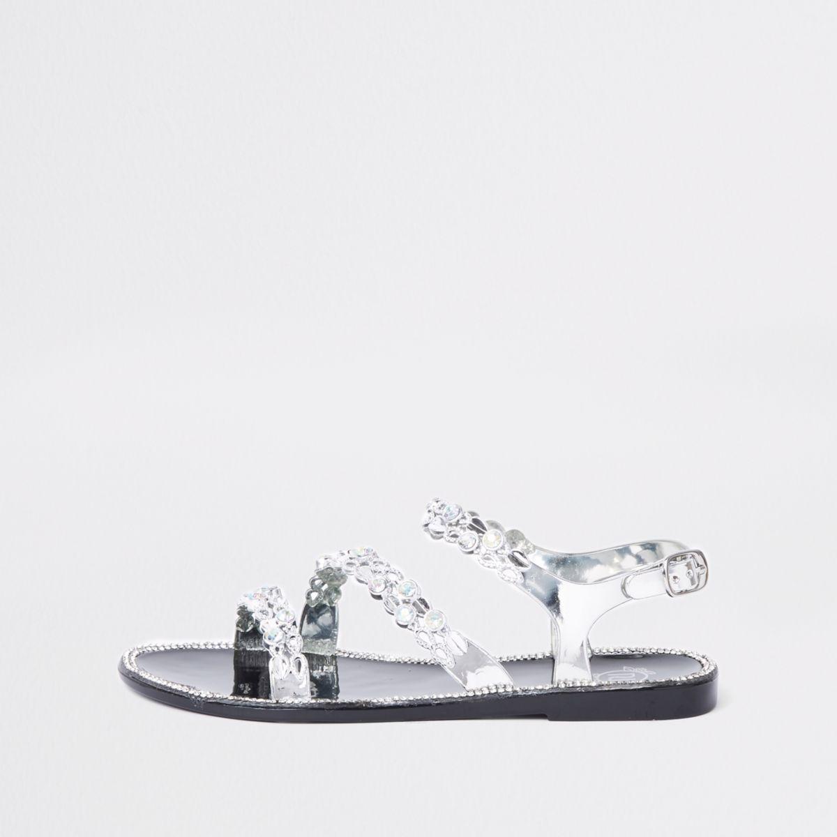Girls black embellished jelly shoe