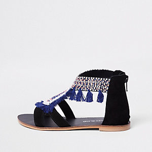 Girls black fringe embellished sandals