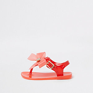 Mini girls red rhinestone bow jelly sandals