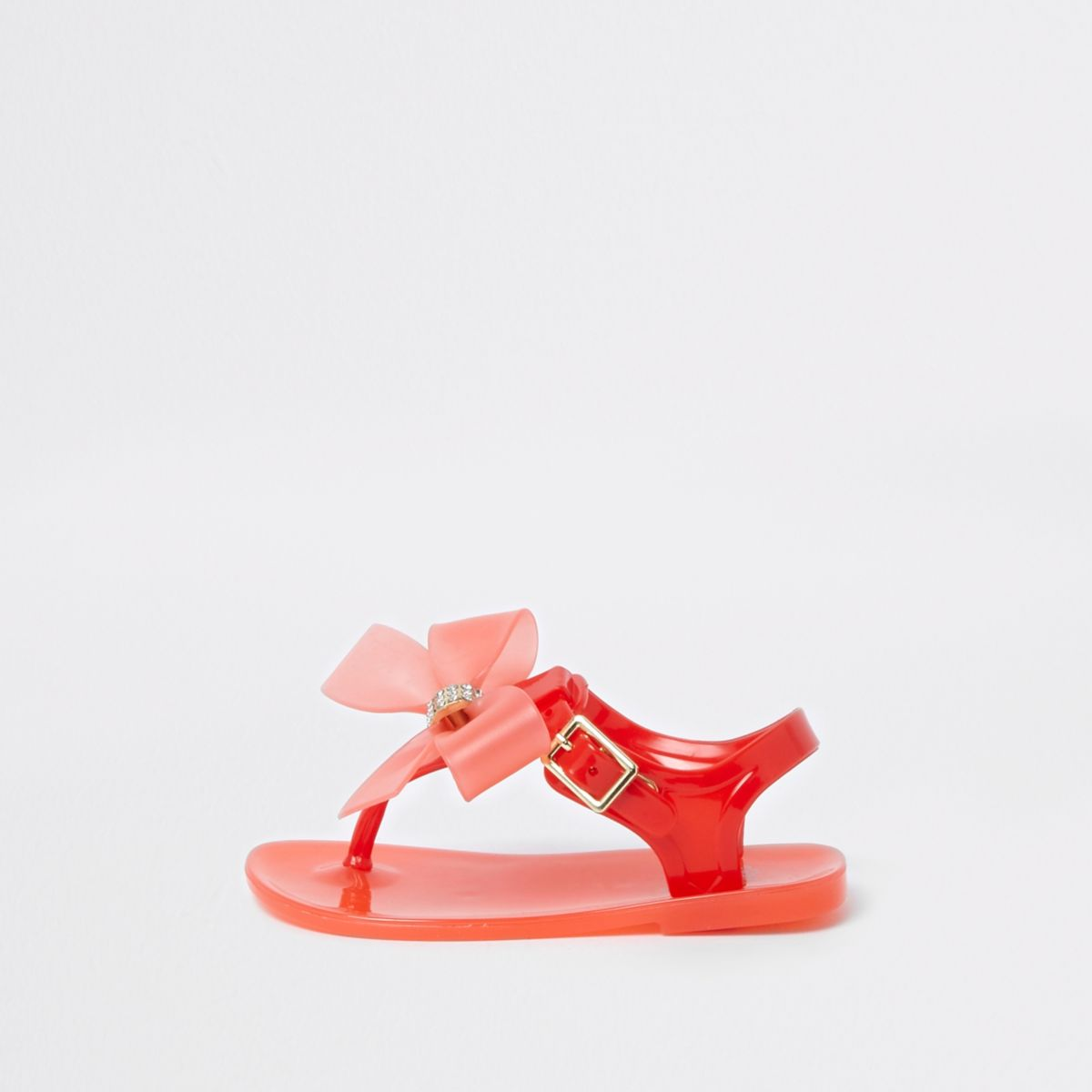 Mini girls red diamante bow jelly sandals