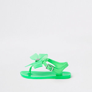 Mini girls green diamante bow jelly sandals