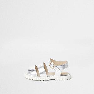 Sandales métallisées argentées mini fille