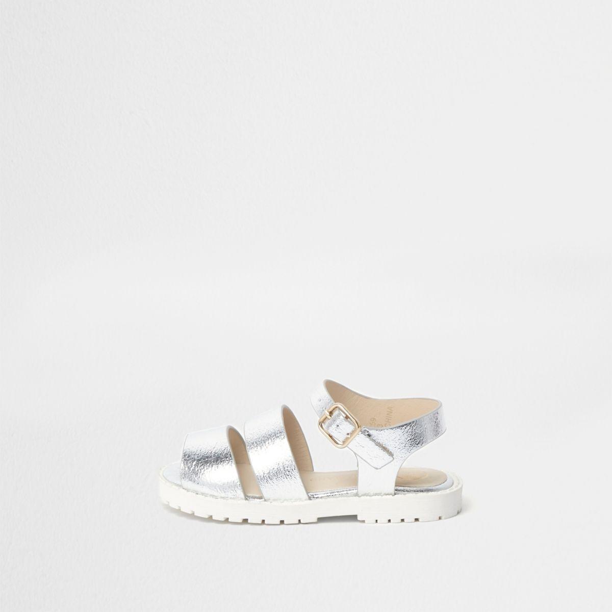 Mini girls silver metallic sandals