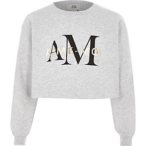Girls grey 'aime moi' cropped sweatshirt