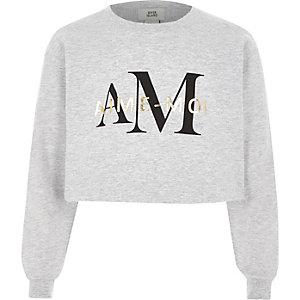 Grijs cropped sweatshirt met 'aime moi'-print voor meisjes