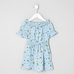 Mini girls blue floral print bardot dress