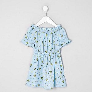 Robe Bardot à fleurs bleue mini fille