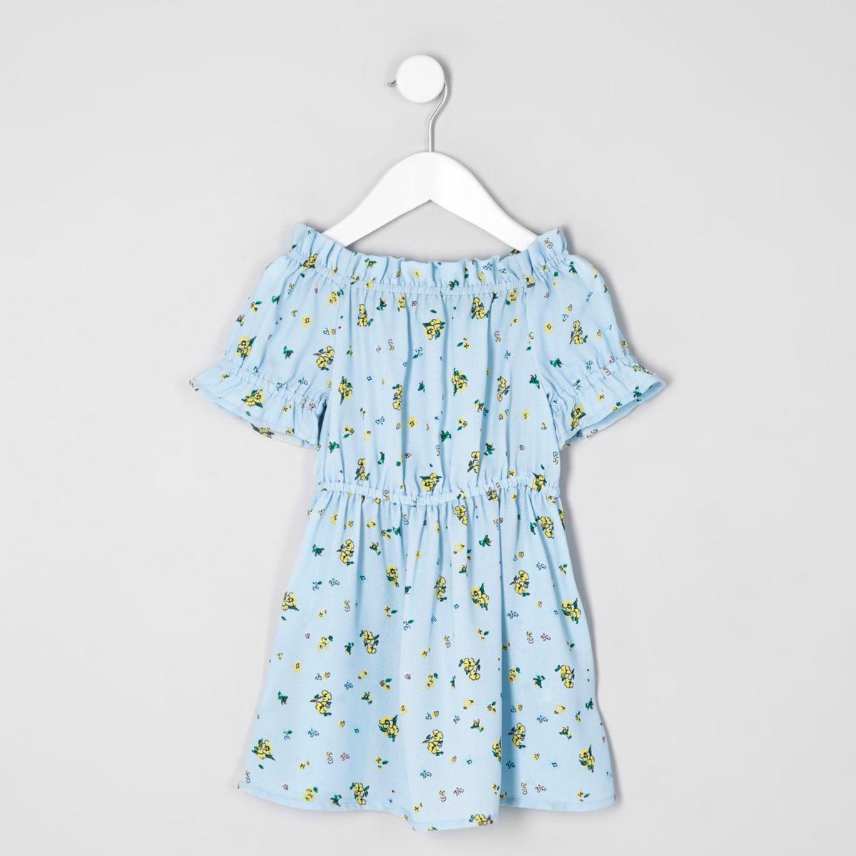 Mini girls blue floral print bardot dress