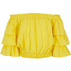 Haut Bardot jaune avec volant aux manches pour filles