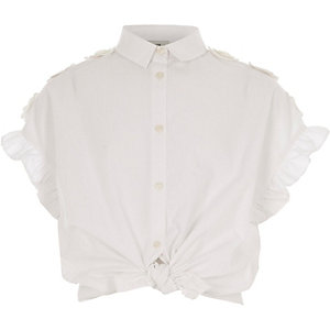Girls white frill sleeve shirt