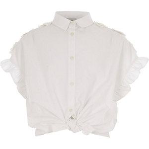Girls white frill sleeve shirt