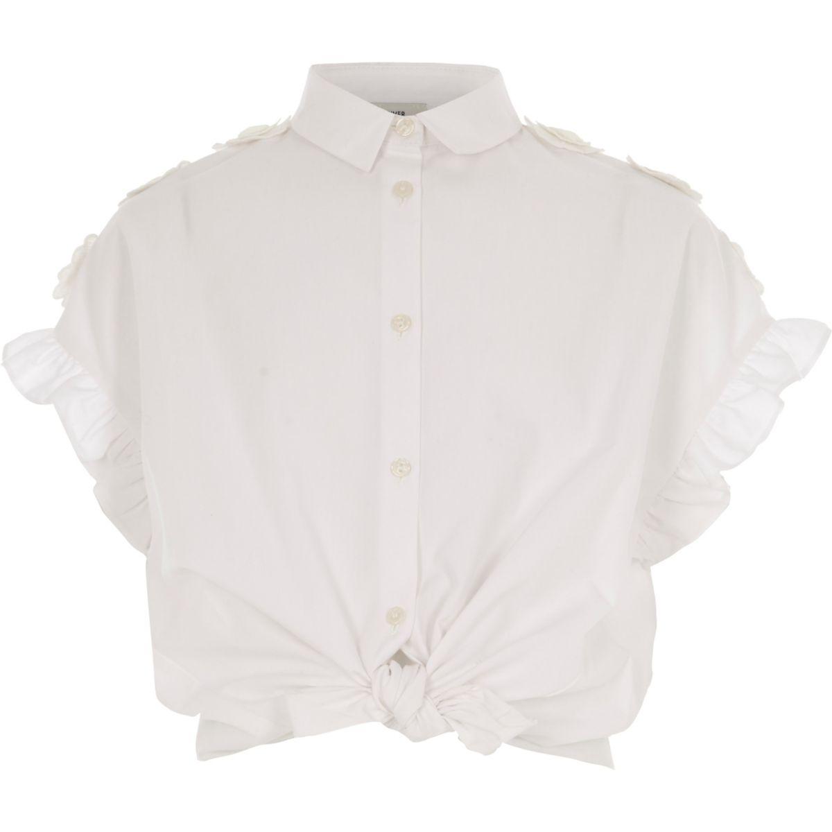 Chemise blanche à volants fille