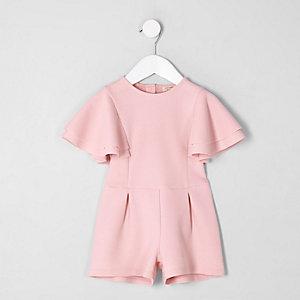 Mini girls pink frill sleeve playsuit