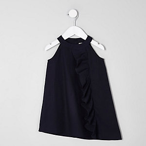 Mini girls navy frill front sleeveless dress
