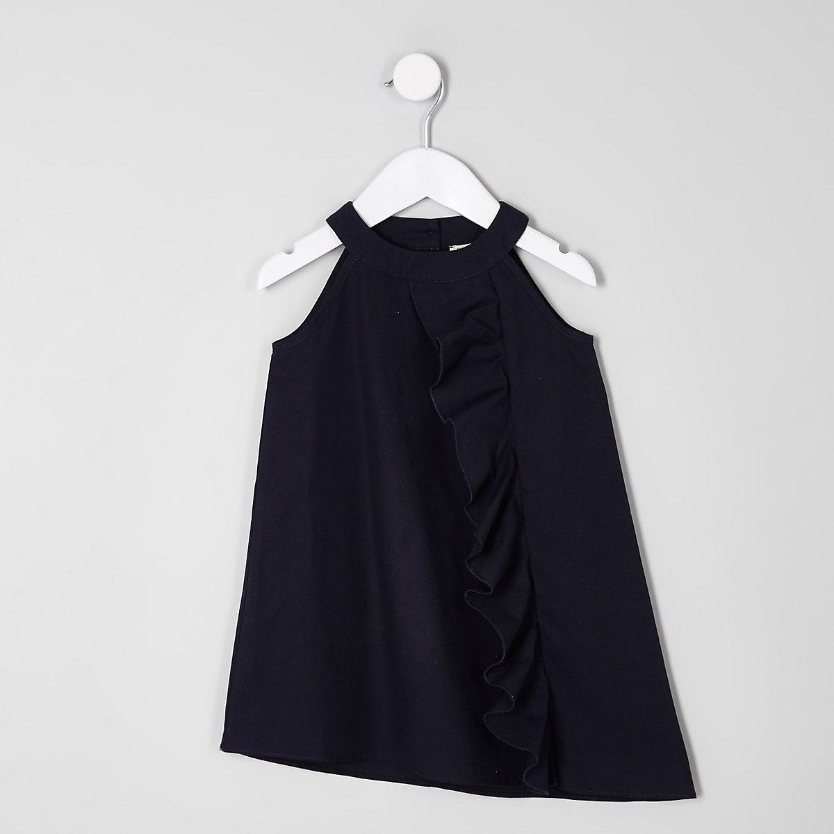 Mini girls navy frill front sleeveless dress