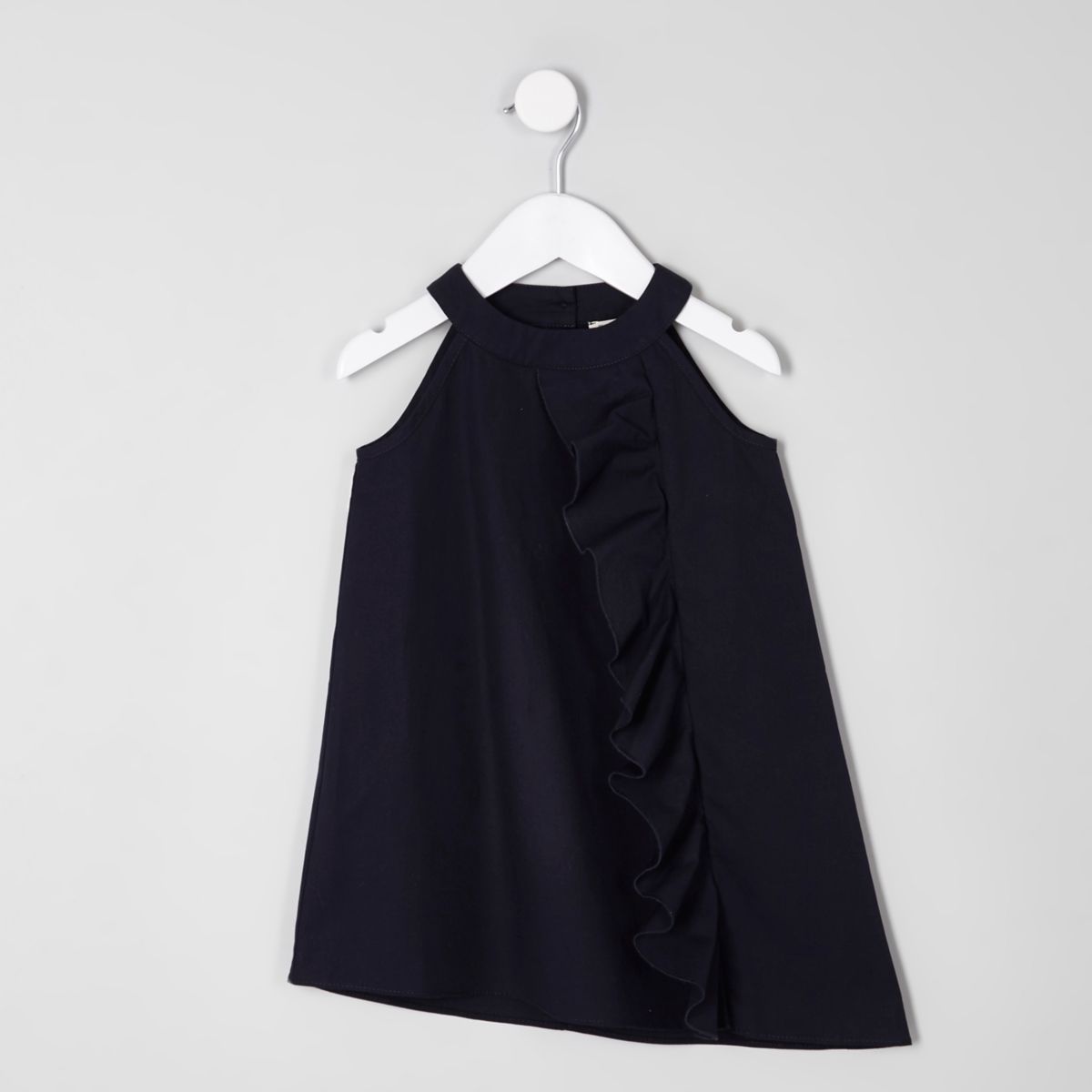Marineblaues, ärmelloses Kleid mit Rüschen