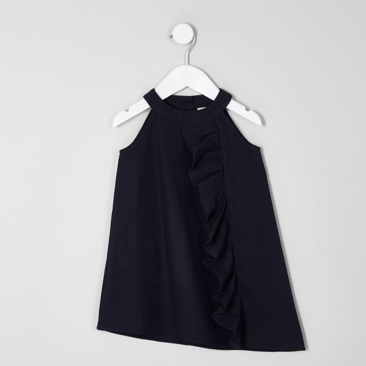 Robe sans manches bleu marine à volants sur le devant mini fille