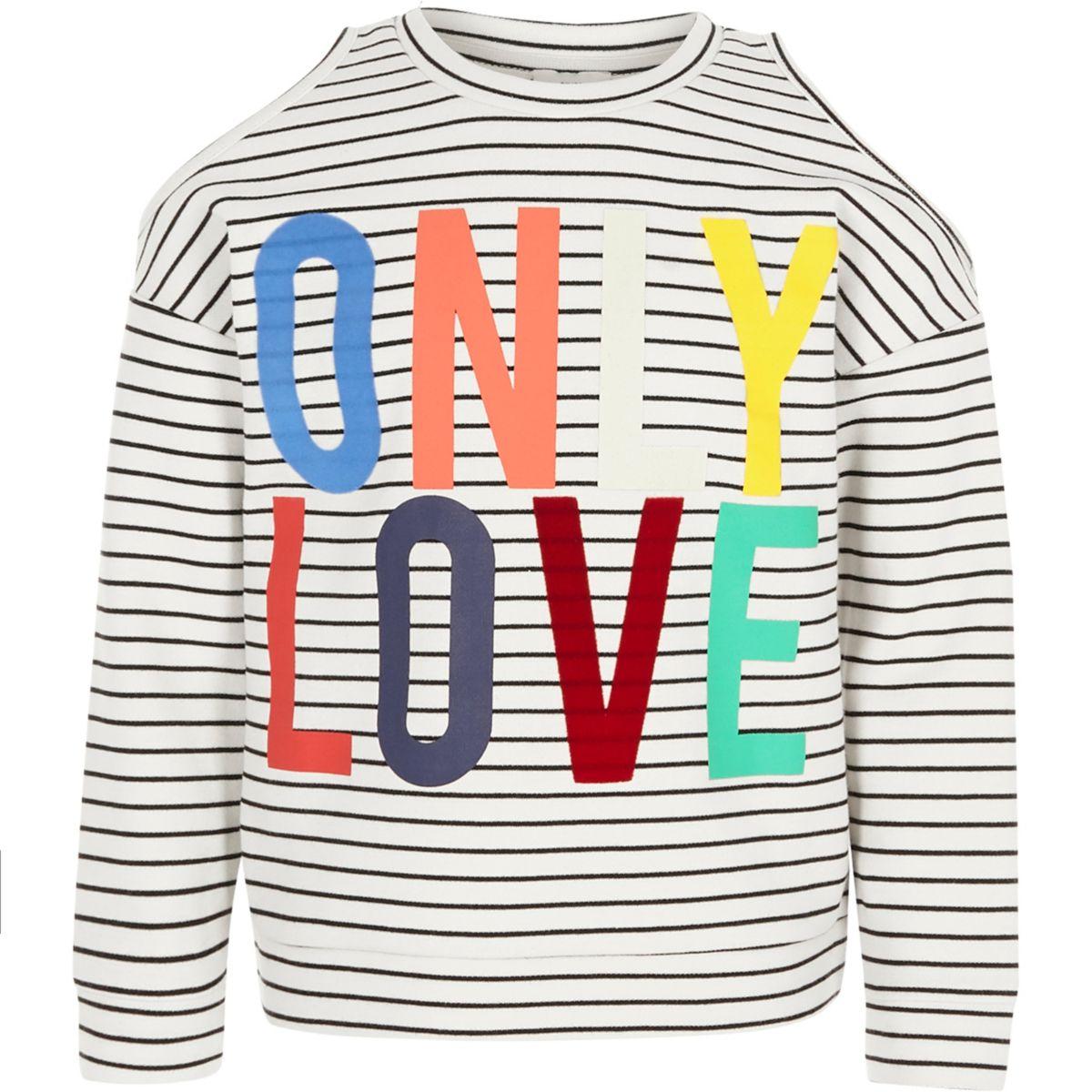 Girls white stripe cold shoulder sweatshirt