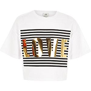 Wit cropped T-shirt met 'love'-print voor meisjes