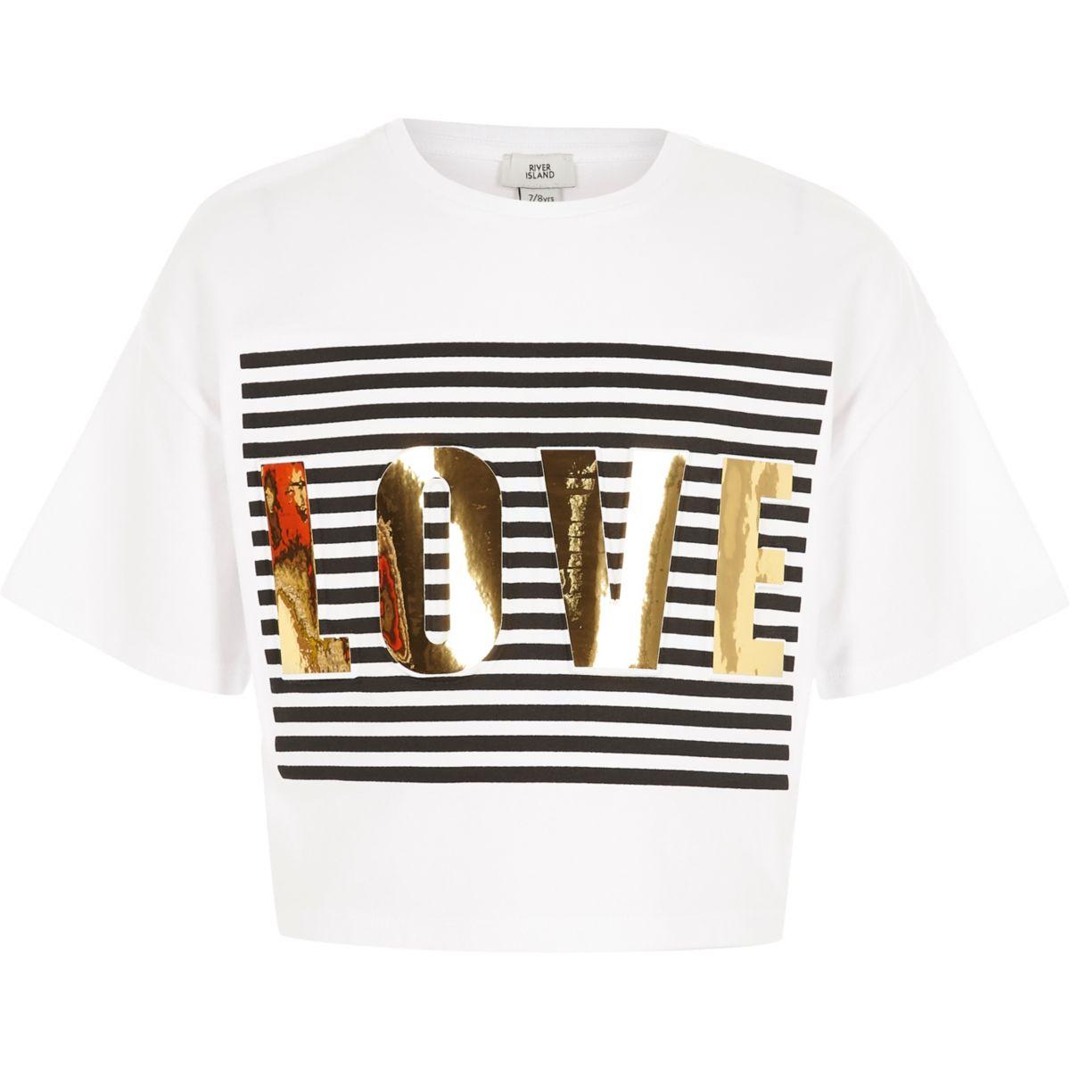Girls white 'love' print cropped T-shirt