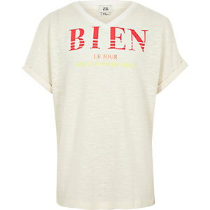 Girls cream slub 'bien' T-shirt