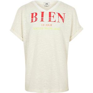 Crème T-shirt met 'bien'-print voor meisjes