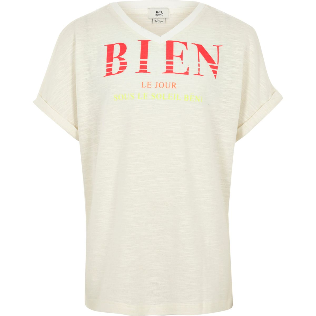 Girls cream slub 'bien' T-shirt