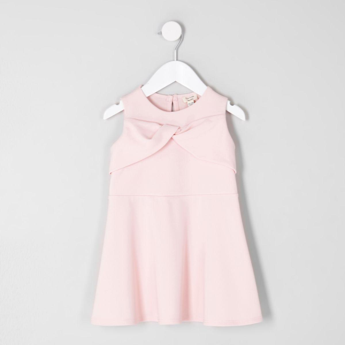Mini girls pink bow front skater dress