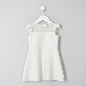 Mini girls cream lace frill shoulder dress