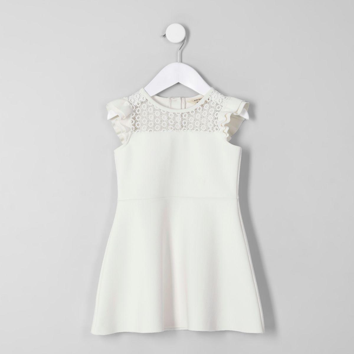 Mini girls cream lace frill shoulder dress