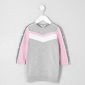 Mini - Grijze gemêleerde geruite sweatshirtjurk voor meisjes