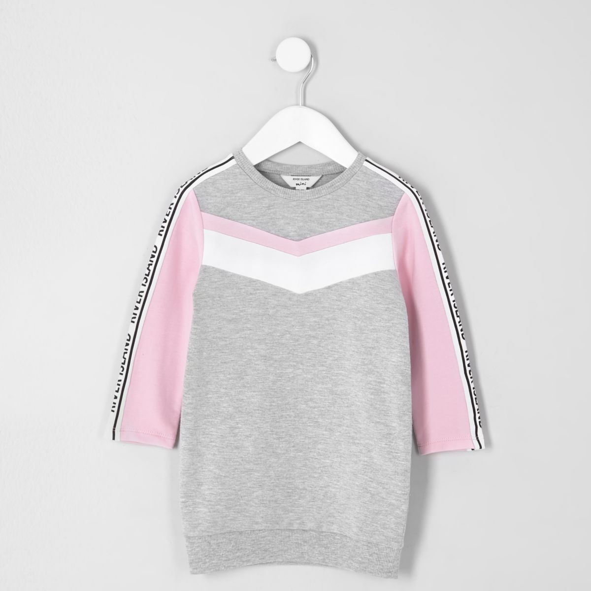 Mini girls grey marl chevron sweatshirt dress
