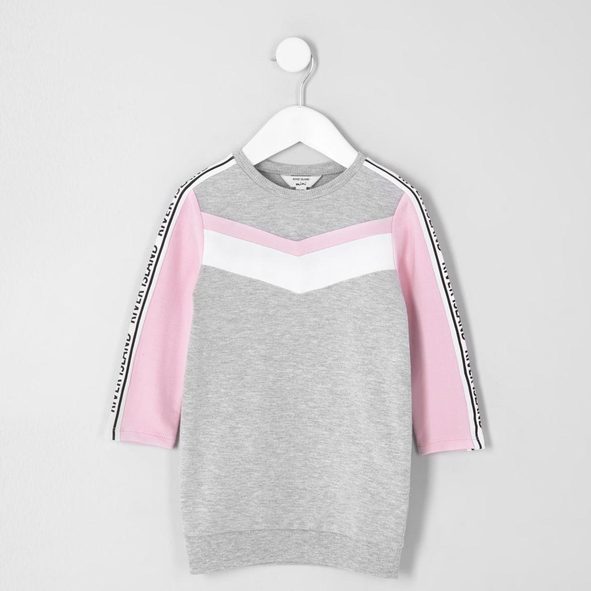 Mini girls grey marl chevron sweatshirt dress